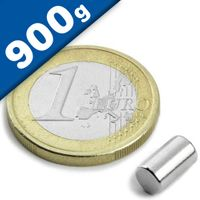 Rod Magnet Ø  5 x   8 mm Neodymium N45, Nickel - pull 900 g