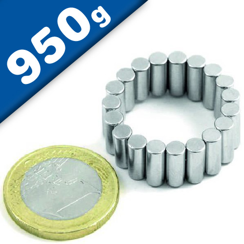 Rod Magnet Ø  5 x  10 mm Neodymium N45, Nickel - pull 950 g