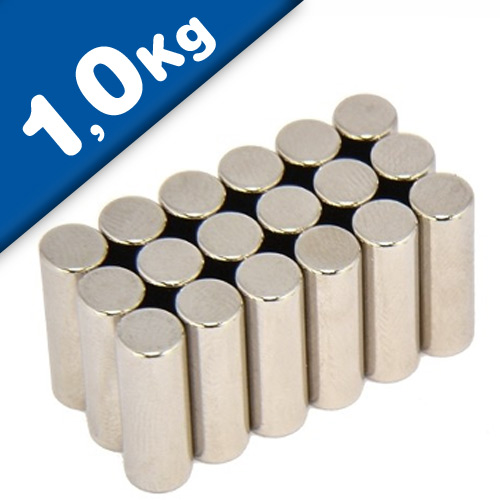 Rod Magnet Ø  5 x  15 mm Neodymium N40, Nickel - pull 1 kg