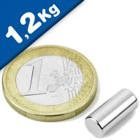 Rod Magnet Ø  6 x  12 mm Neodymium N35, Nickel - pull 1,2 kg