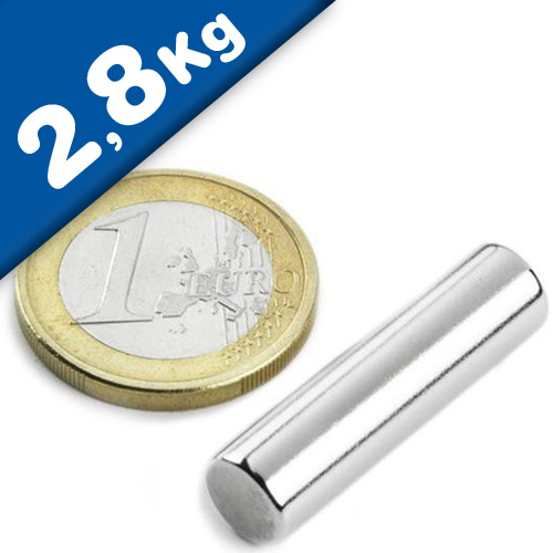 Rod Magnet Ø  7 x  25 mm Neodymium N45, Nickel - pull 2,8 kg