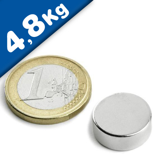 Round Disc Magnet Ø  15 x  5mm Neodymium N40 (Rare Earth), Nickel - pull 4,8 kg