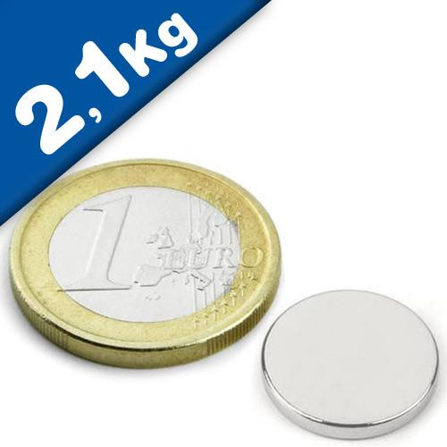Scheibenmagnet / Rundmagnet Ø 15x 2mm – Neodym N42 (NdFeB) Nickel - hält 2,1 kg