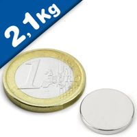 Round Disc Magnet Ø  15 x  2mm Neodymium N42 (Rare Earth), Nickel - pull 2,1 kg