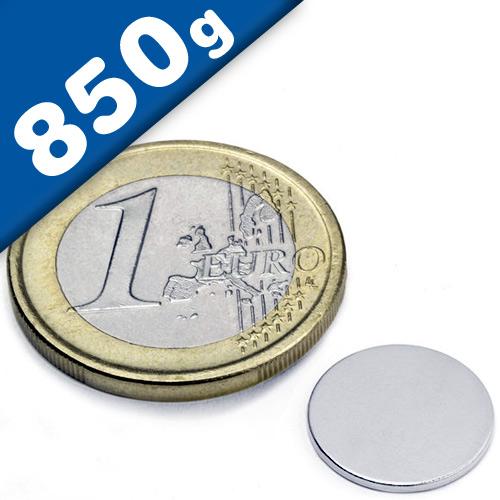 Round Disc Magnet Ø  13 x  1mm Neodymium N45 (Rare Earth), Nickel - pull 850 g
