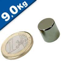 Disco magnetico Ø  12 x 12mm Neodimio N42, Nichel  -  forza 9kg