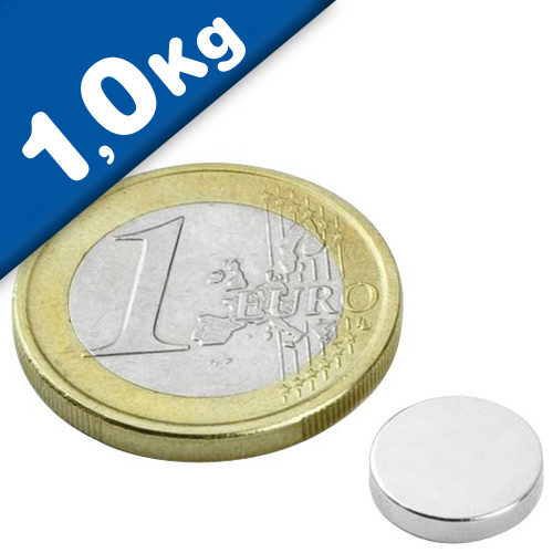 Round Disc Magnet Ø  10 x  2mm Neodymium N35 (Rare Earth), Nickel - pull 1,0 kg