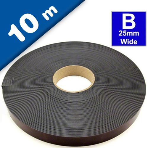 Bande magnétique autocollante type B anisotrope 1,5mm x 25,4mm x 10m - Rouleau