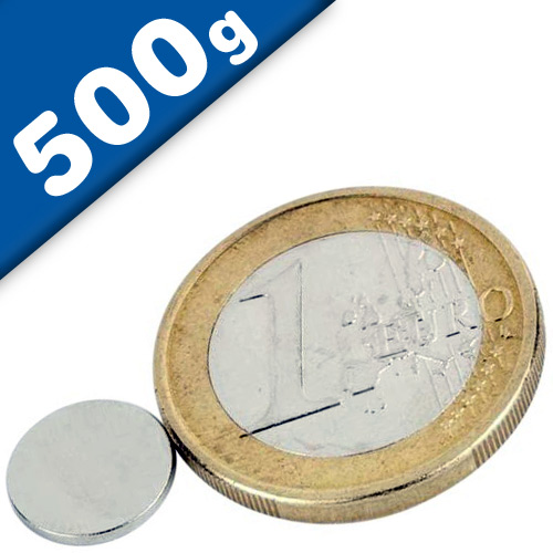 Round Disc Magnet Ø  10 x  1mm Neodymium N35 (Rare Earth), Nickel - pull 500 g