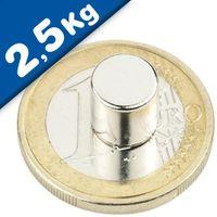 Scheibenmagnet / Rundmagnet Ø  8x 8mm – Neodym N42 (NdFeB) Nickel - hält 2,5 kg