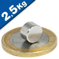 Round Disc Magnet Ø   8 x  5mm Neodymium N45 (Rare Earth) Nickel - pull 2,5 kg