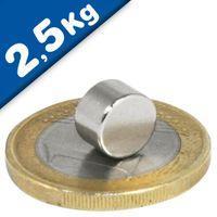 Scheibenmagnet / Rundmagnet Ø  8x 5mm – Neodym N45 (NdFeB) Nickel - hält 2,5 kg