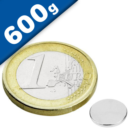 Round Disc Magnet Ø   8 x  1mm Neodymium N45 (Rare Earth) Nickel - pull 600 g