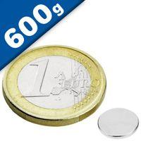Scheibenmagnet / Rundmagnet Ø  8x 1mm – Neodym N45 (NdFeB) Nickel- hält 600g