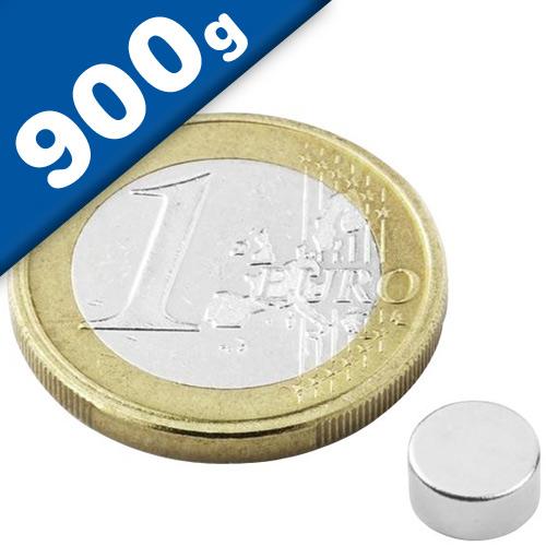 Round Disc Magnet Ø   6 x  3mm Neodymium N45 (Rare Earth), Nickel - pull 900 g