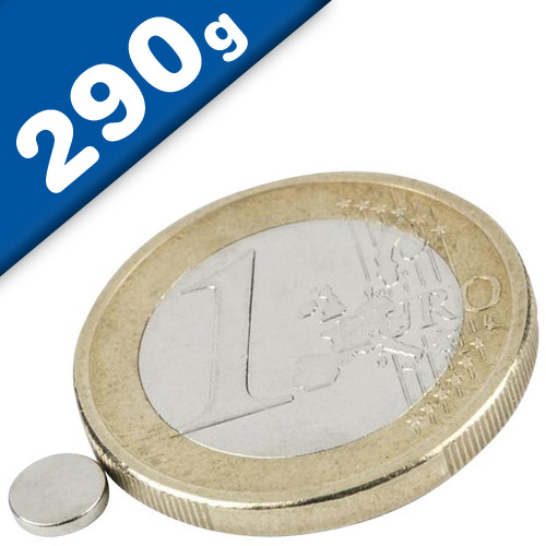 Scheibenmagnet / Rundmagnet Ø  5x 1mm – Neodym N45 (NdFeB) Nickel- hält 290g