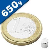 Scheibenmagnet / Rundmagnet Ø  4x 4mm – Neodym N45 (NdFeB) Nickel- hält 650g