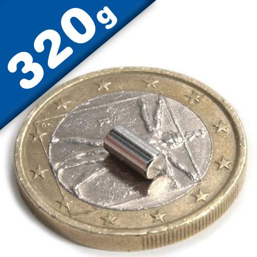 Stabmagnet Magnet-Stab Ø  3 x   4 mm Neodym N35 (NdFeB) Nickel - Haftkraft 320g