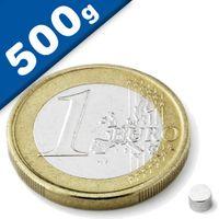 Scheibenmagnet / Rundmagnet Ø  3x 3mm – Neodym N45 (NdFeB) Nickel- hält 500g