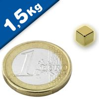 Cubo magnético  5 x  5 x  5mm Neodimio N42, Oro – fuerza 1,5 kg