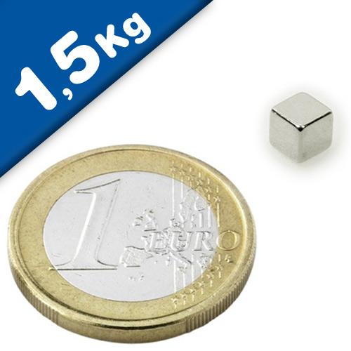 Magnetwürfel Würfelmagnet  5 x 5 x 5mm Neodym N42, Nickel – hält 1,5kg