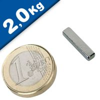 Quadermagnet Magnet-Quader  18 x  3 x  4mm Neodym N48H, Nickel - Haftkraft 2,0kg