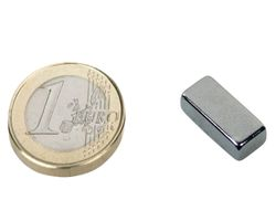 Quadermagnet 18 x 10 x  5mm Neodym N45SH, Nickel