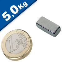 Aimant rectangulaire Bloc  18 x  10 x  5mm Néodyme N45SH, Nickelé - Force 5 kg