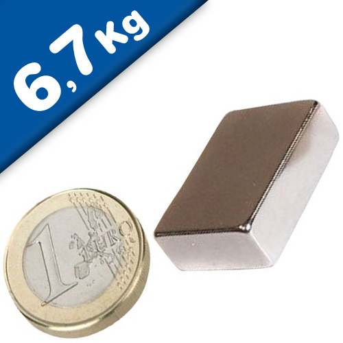 Quadermagnet Magnet-Quader  19 x 13 x  6mm Neodym N42, Nickel - Haftkraft 6,7 kg