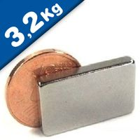 Quadermagnet Magnet-Quader  20 x  3 x 12mm Neodym N42, Nickel - hält 3,2 kg