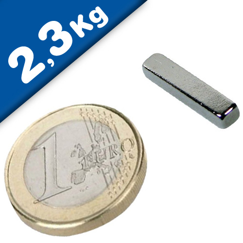 Block Magnet  20 x   3 x  4mm Neodymium N48 (Rare Earth) Nickel - pull 2,3 kg