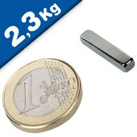 Aimant rectangulaire Bloc  20 x   3 x  4mm Néodyme N48, Nickelé - force 2,3 kg
