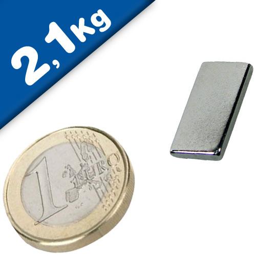 Block Magnet  20 x  10 x  2mm Neodymium N45 (Rare Earth) Nickel - pull 2,1 kg