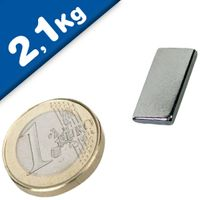 Quadermagnet Magnet-Quader  20 x 10 x  2mm Neodym N45, Nickel - hält 2,1 kg