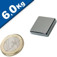 Quadermagnet Magnet-Quader  20 x 20 x  5mm Neodym N45, Nickel - Haftkraft 6,0 kg