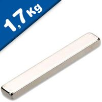 Quadermagnet Magnet-Quader  25 x  4 x  2mm Neodym N52, Nickel - Haftkraft 1,7 kg