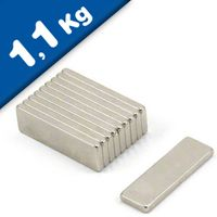 Quadermagnet Magnet-Quader  25 x  8 x  1mm Neodym N48, Nickel - Haftkraft 1,1 kg