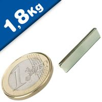 Aimant Bloc  25 x   6 x  2mm Néodyme N45SH, Nickelé - force 1,8 kg