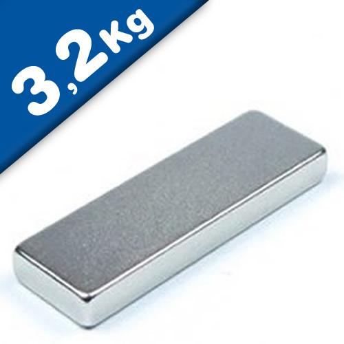 Aimant rectangulaire Bloc  25 x   8 x  3mm Néodyme N40, Nickelé - force 3,2 kg
