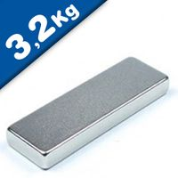 Quadermagnet Magnet-Quader  25 x  8 x  3mm Neodym N40, Nickel - Haftkraft 3,2 kg