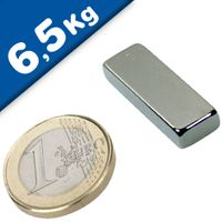 Block Magnet  30 x  10 x  5mm Neodymium N40 (Rare Earth) Nickel - pull 6,5 kg