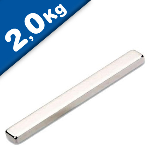 Quadermagnet Magnet-Quader  35 x  4 x  2mm Neodym N52, Nickel - Haftkraft 2,0 kg