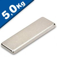 Quadermagnet Magnet-Quader  35 x 15 x  3mm Neodym N40, Nickel - Haftkraft 5,0 kg