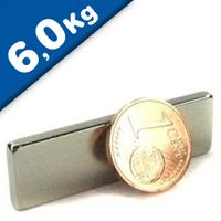 Quadermagnet Magnet-Quader  40 x  3 x 12mm Neodym N42, Nickel - Haftkraft 6,0 kg