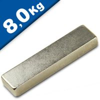 Quadermagnet Magnet-Quader  40 x 10 x  5mm Neodym N42, Nickel - Haftkraft 8,0 kg