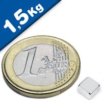 Quadermagnet Magnet-Quader   5 x   5 x  3mm Neodym N52, Nickel - hält 1,5 kg