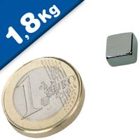Block Magnet   8 x   8 x  4mm Neodymium N45, Nickel - pull 1,8 kg
