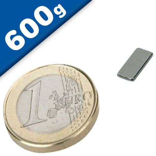Block Magnet  10 x   5 x  1mm Neodymium N52, Nickel - pull 0,6 kg