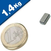 Quadermagnet Magnet-Quader  10 x  5 x  3mm Neodym N40, Nickel - Haftkraft 1,4 kg