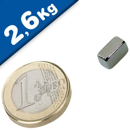 Block Magnet  10 x   5 x  8mm Neodymium N45, Nickel - pull 2,6 kg